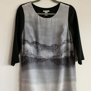 H&M Black and White Landscape Short Dress